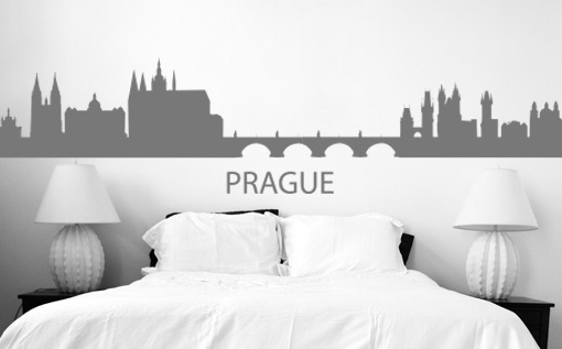 >Black Friday 60%< Stenske nalepke PRAGA 50x100 cm NAME015/24h - rdeča barva