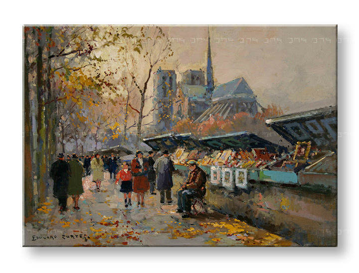 Slika na platnu BOOK SELLERS ALONG THE SEINE  – Edouard Leon Cortes
