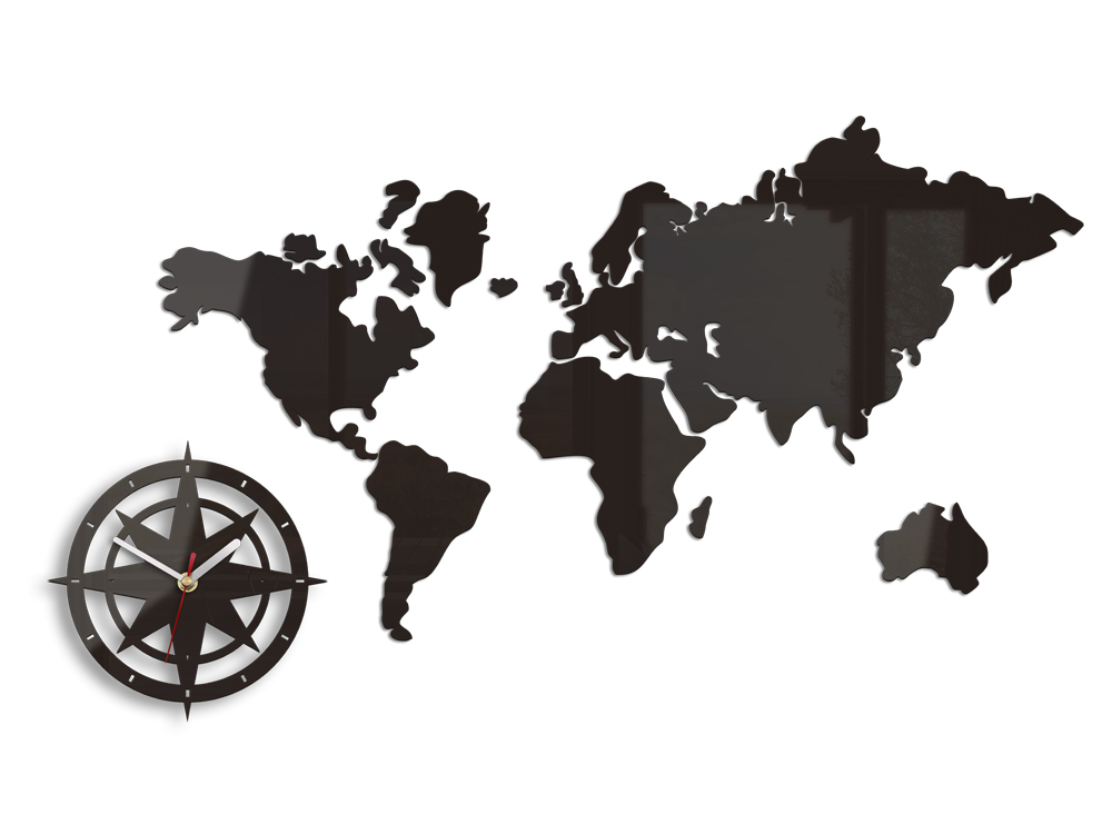 Stenske ure WORLD MAP WENGE HMCNH051-wenge